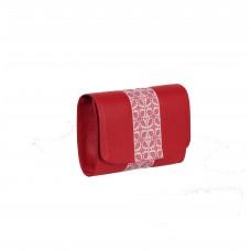 PLIC PIELE CLASIC Bizonat Rosu cu aplicatie alba